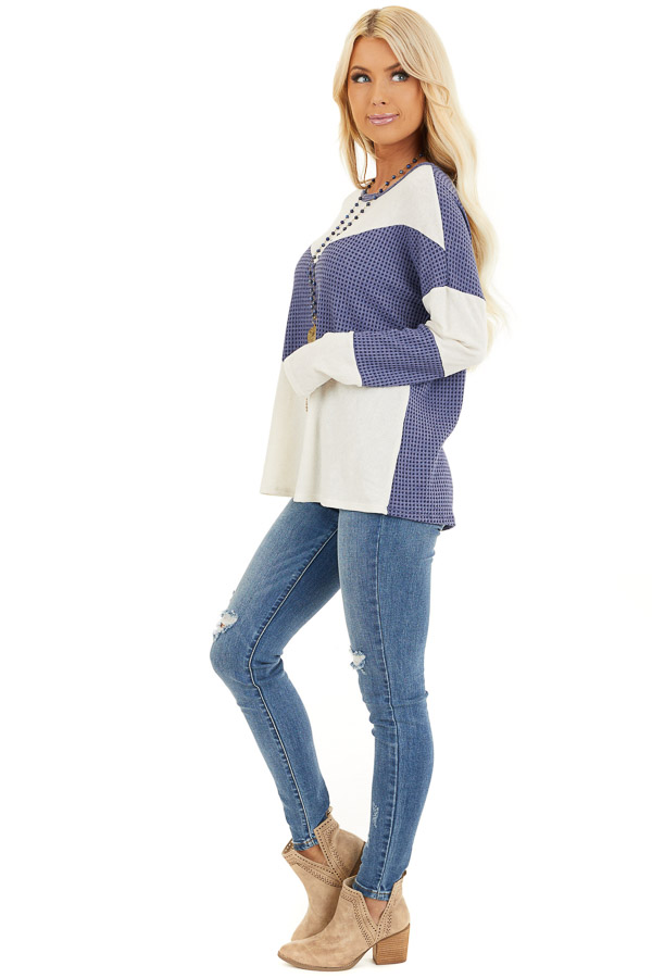 Dusty Blue and Ivory Color Block Long Sleeve Top side full body