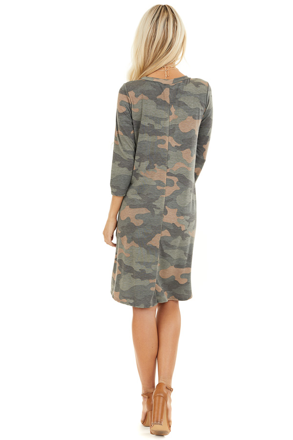 Faded Olive Camo Print Mini Dress with 3/4 Sleeves back full body