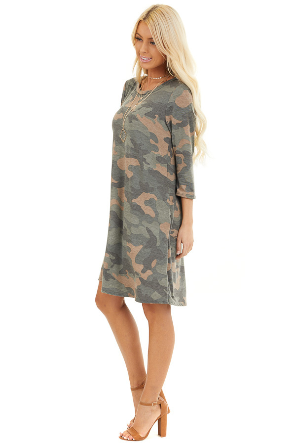 Faded Olive Camo Print Mini Dress with 3/4 Sleeves side full body
