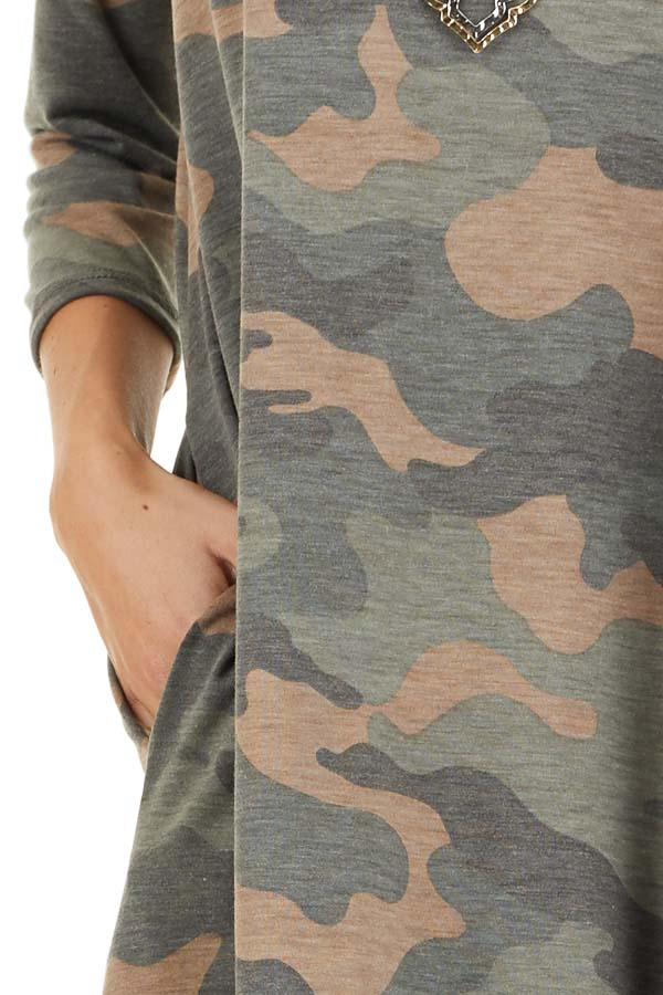 Faded Olive Camo Print Mini Dress with 3/4 Sleeves detail