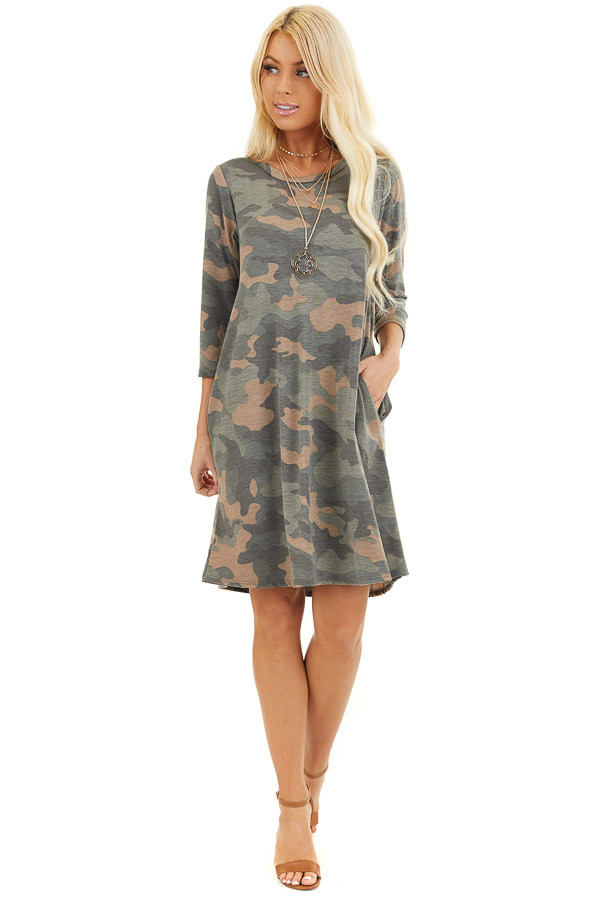 Faded Olive Camo Print Mini Dress with 3/4 Sleeves front full body