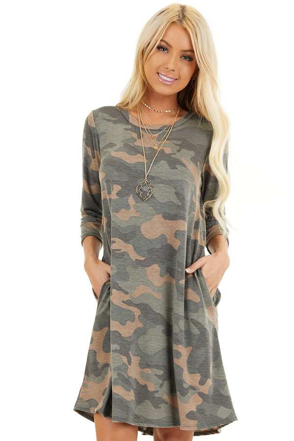 Faded Olive Camo Print Mini Dress with 3/4 Sleeves