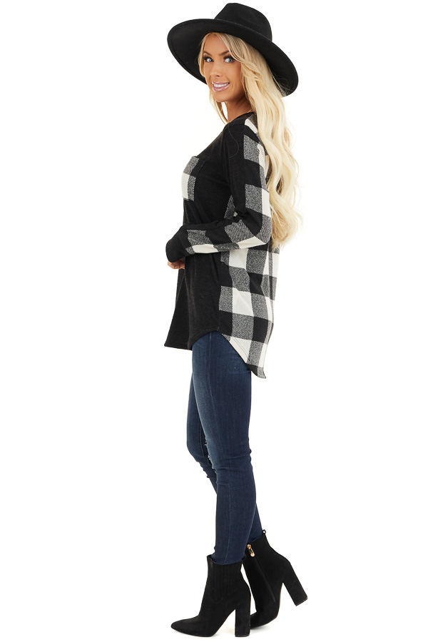 Black and White Buffalo Plaid Print Long Sleeve Knit Top side full body