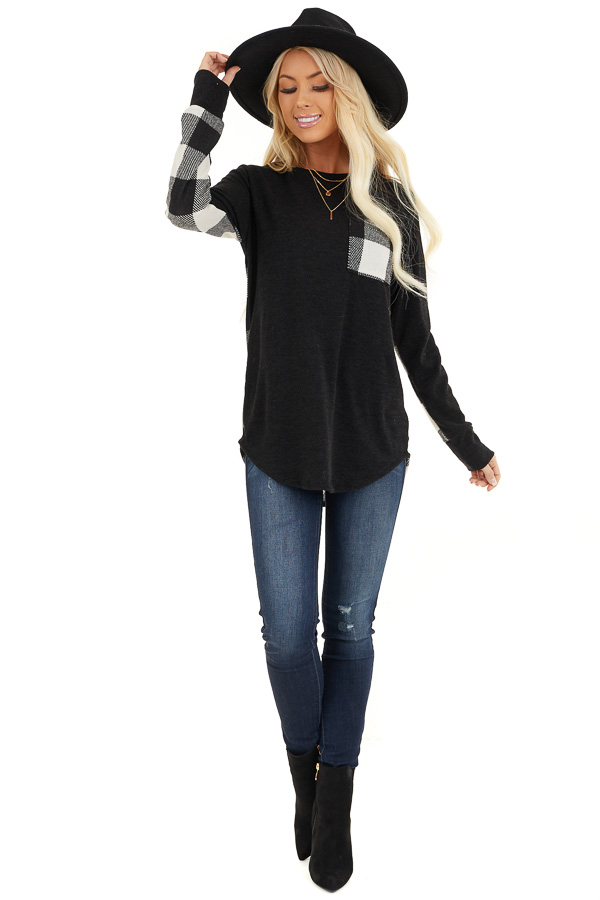 Black and White Buffalo Plaid Print Long Sleeve Knit Top front full body