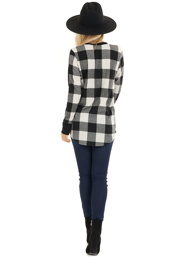 Black and White Buffalo Plaid Print Long Sleeve Knit Top back full body