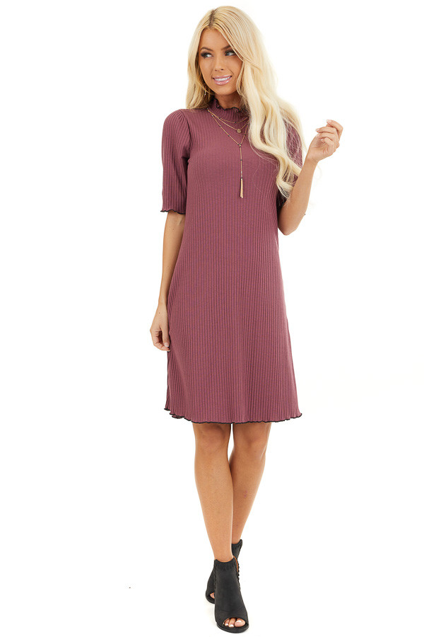 Light Plum Ribbed Mock Neck Half Sleeve Mini Dress front full body