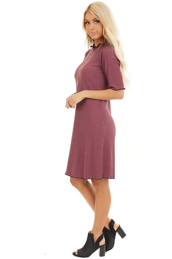 Light Plum Ribbed Mock Neck Half Sleeve Mini Dress side full body