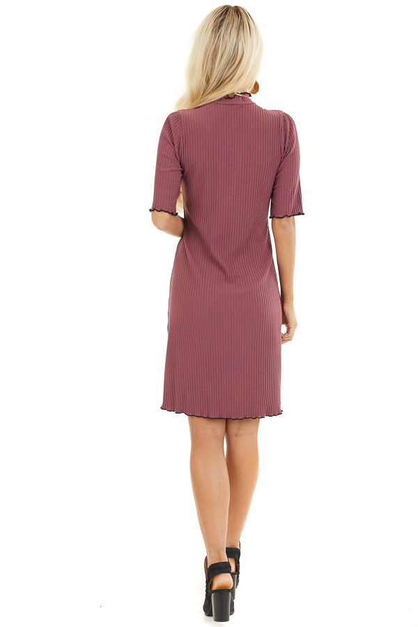 Light Plum Ribbed Mock Neck Half Sleeve Mini Dress back full body