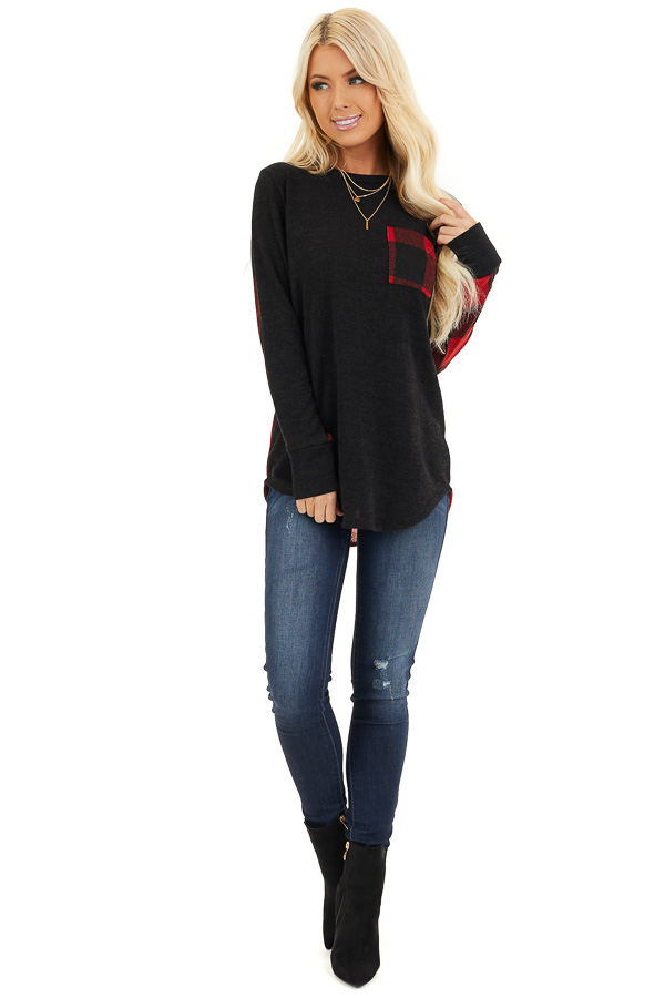 Black and Red Buffalo Plaid Print Long Sleeve Knit Top front full body