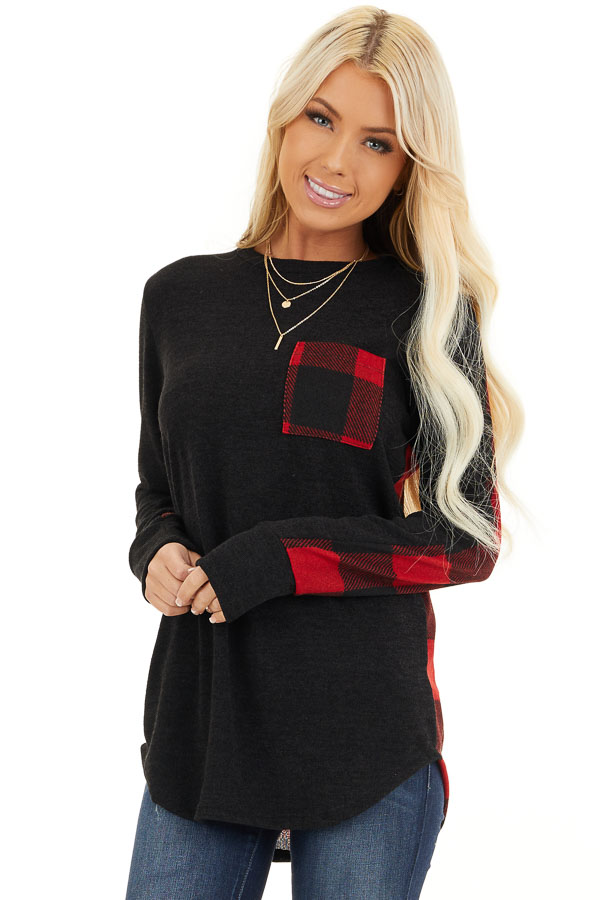 Black and Red Buffalo Plaid Print Long Sleeve Knit Top front close up
