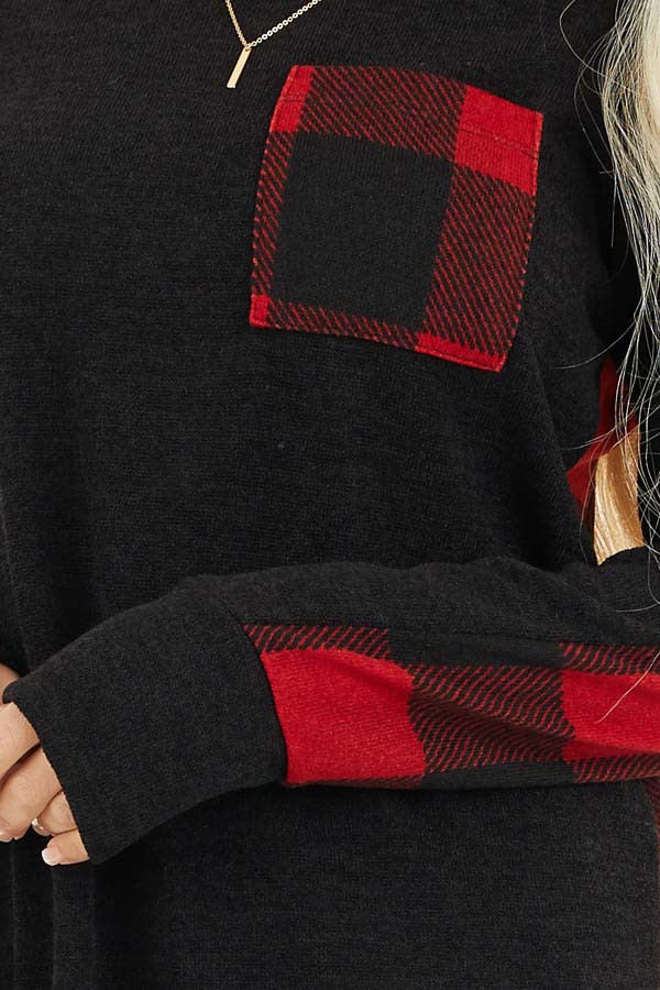 Black and Red Buffalo Plaid Print Long Sleeve Knit Top detail