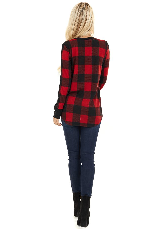 Black and Red Buffalo Plaid Print Long Sleeve Knit Top back full body