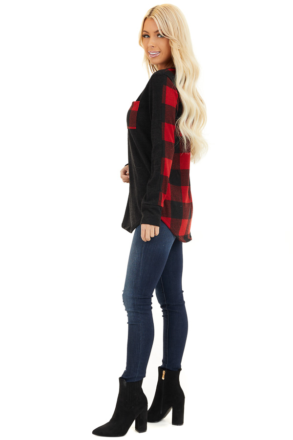 Black and Red Buffalo Plaid Print Long Sleeve Knit Top side full body