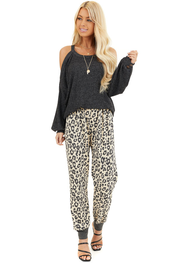 Champagne and Black Leopard Print Joggers with Back Pocket front full body