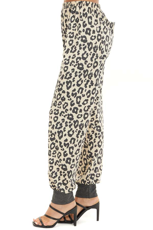 Champagne and Black Leopard Print Joggers with Back Pocket side view