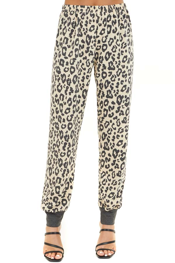 Champagne and Black Leopard Print Joggers with Back Pocket front view