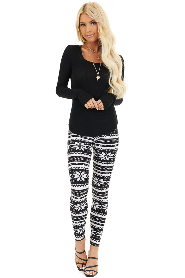 Black and White Snowflake Fair Isle High Waisted Leggings front full body