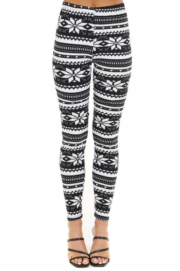 Black and White Snowflake Fair Isle High Waisted Leggings front view