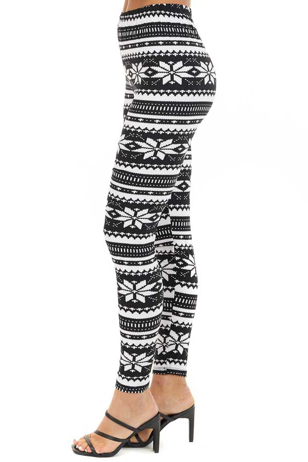 Black and White Snowflake Fair Isle High Waisted Leggings side view