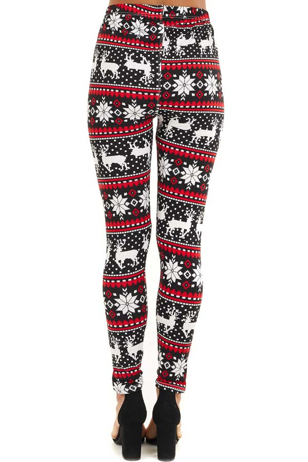 Black and Red Fair Isle High Waisted Leggings back view