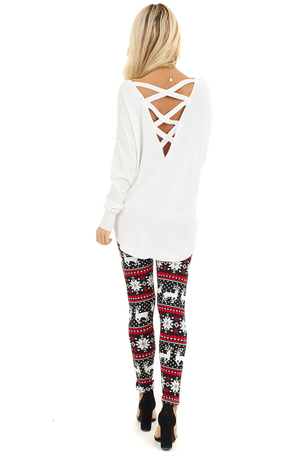 Black and Red Fair Isle High Waisted Leggings back full body
