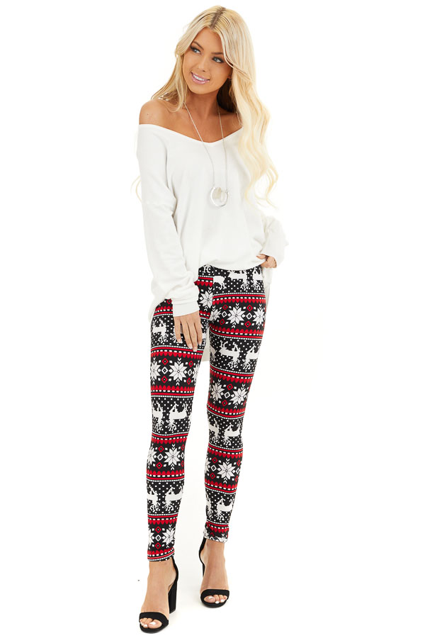 Black and Red Fair Isle High Waisted Leggings front full body