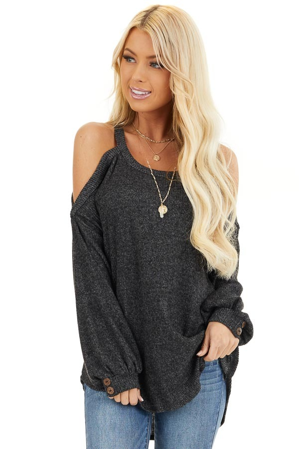 Charcoal Cold Shoulder Long Sleeve Top with Button Details front close up