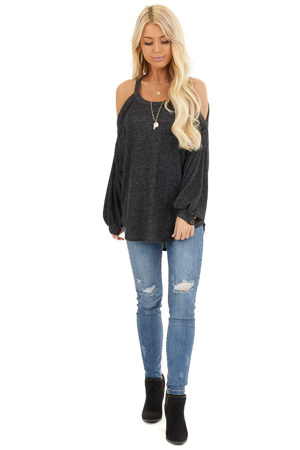 Charcoal Cold Shoulder Long Sleeve Top with Button Details front full body