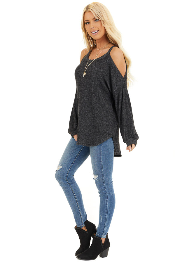 Charcoal Cold Shoulder Long Sleeve Top with Button Details side full body
