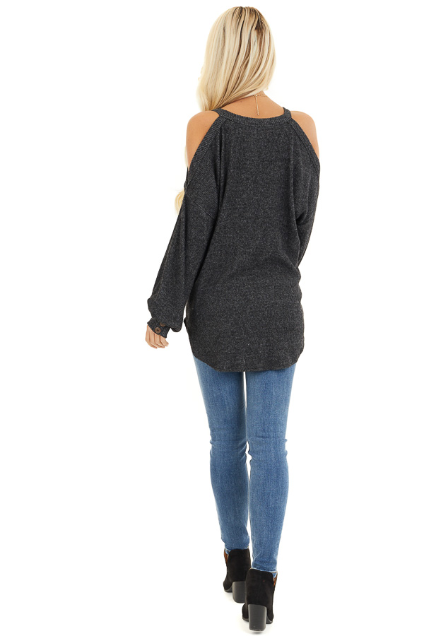 Charcoal Cold Shoulder Long Sleeve Top with Button Details back full body