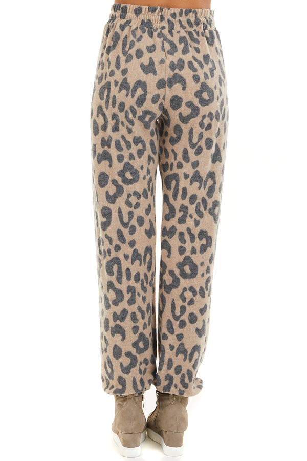 Latte and Charcoal Leopard Print Drawstring Joggers back view