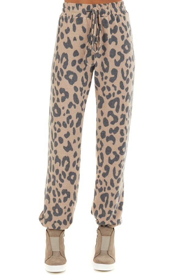 Latte and Charcoal Leopard Print Drawstring Joggers front view