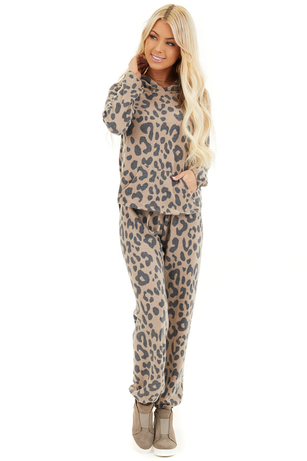 Latte and Charcoal Leopard Print Drawstring Joggers front full body
