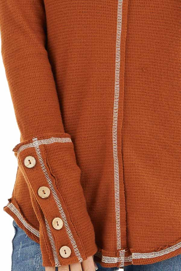 Rust Waffle Knit Long Sleeve Top with Wooden Button Details detail