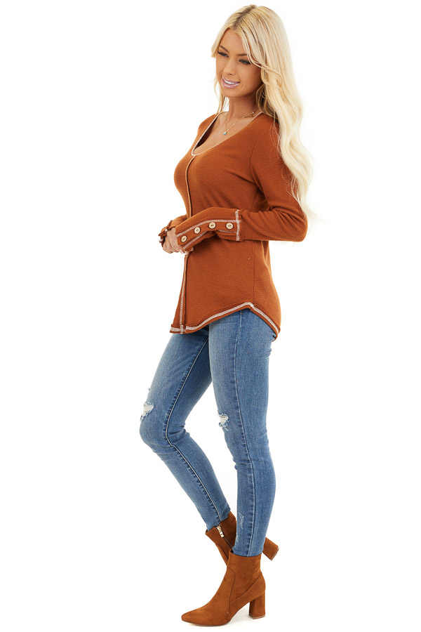 Rust Waffle Knit Long Sleeve Top with Wooden Button Details side full body