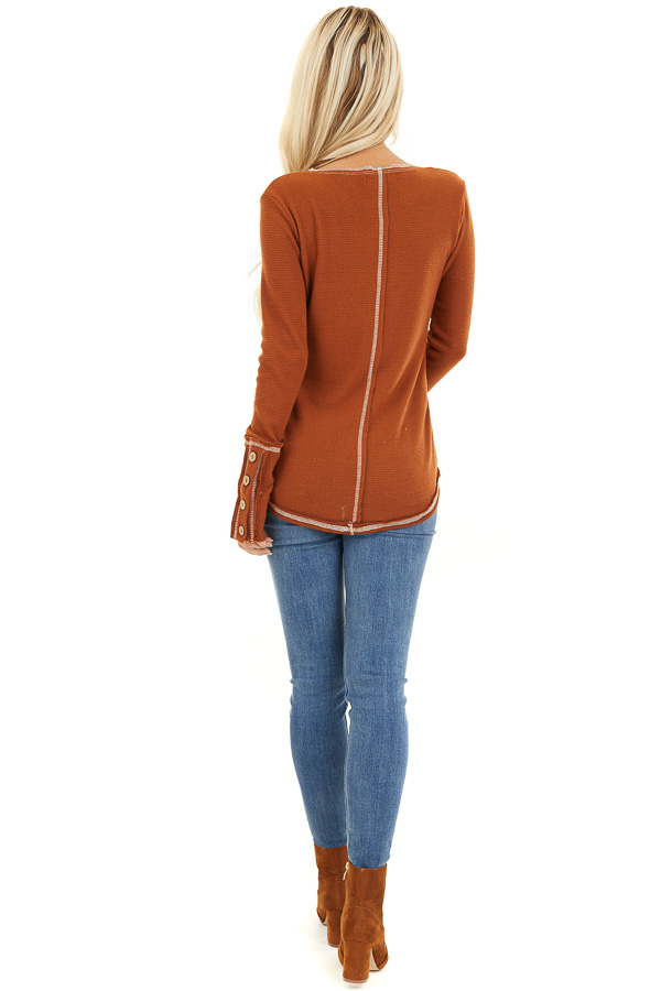 Rust Waffle Knit Long Sleeve Top with Wooden Button Details back full body
