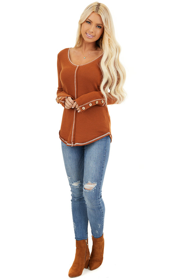 Rust Waffle Knit Long Sleeve Top with Wooden Button Details front full body