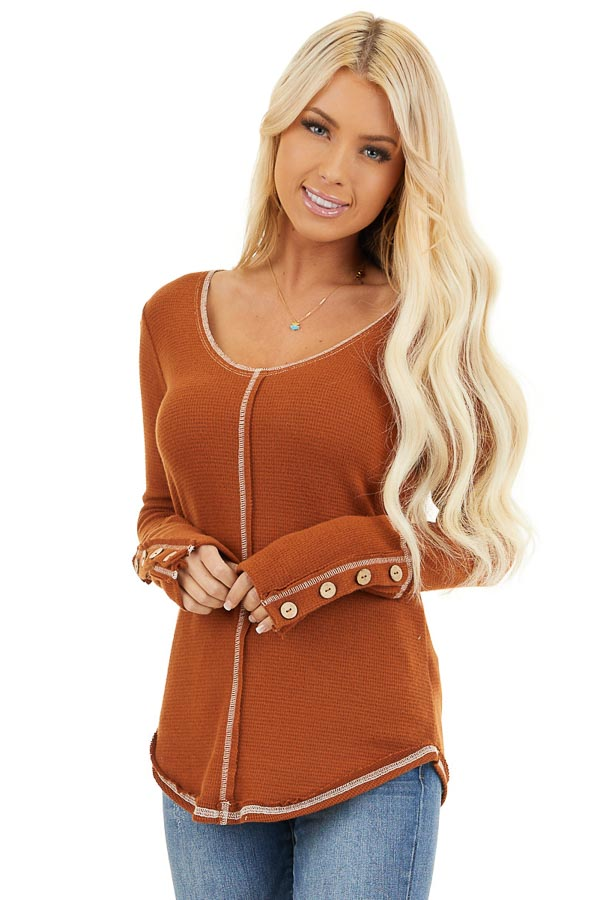 Rust Waffle Knit Long Sleeve Top with Wooden Button Details front close up