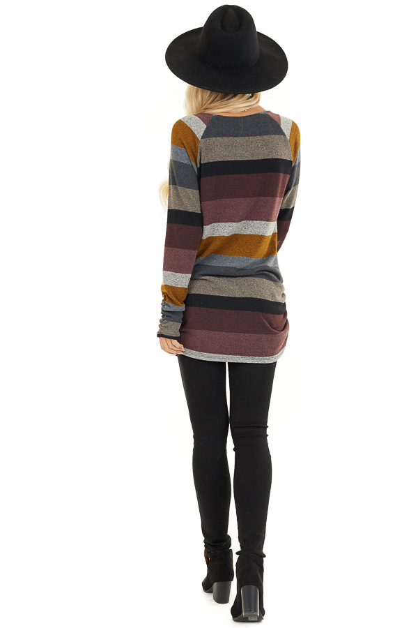 Multi Color Striped Long Sleeve Tunic Top with Side Ruching back full body