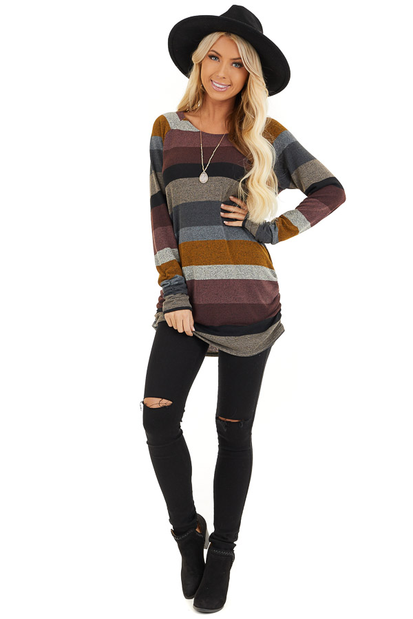Multi Color Striped Long Sleeve Tunic Top with Side Ruching front full body