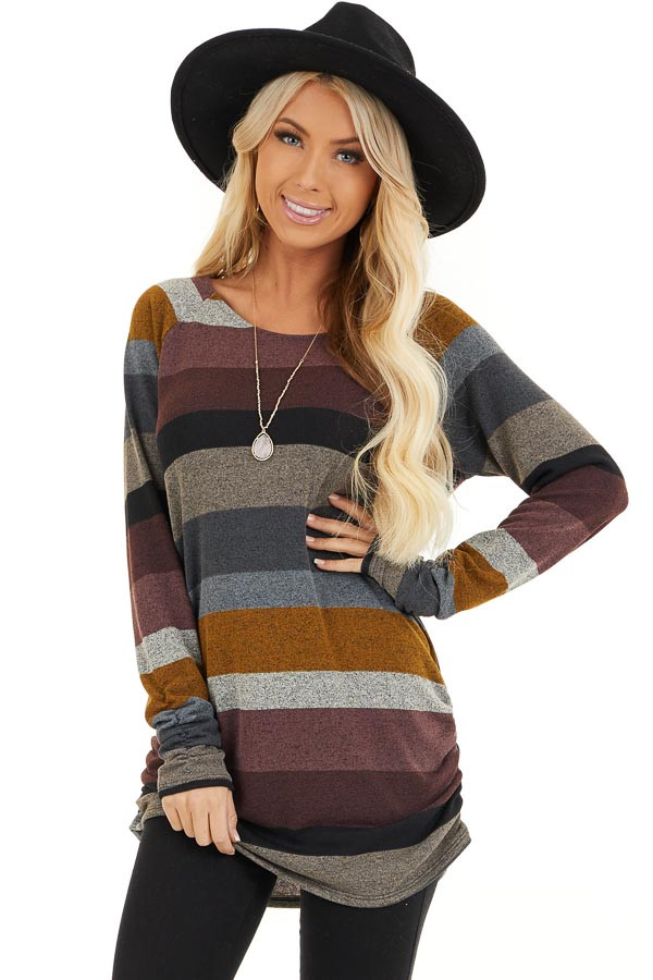 Multi Color Striped Long Sleeve Tunic Top with Side Ruching front close up
