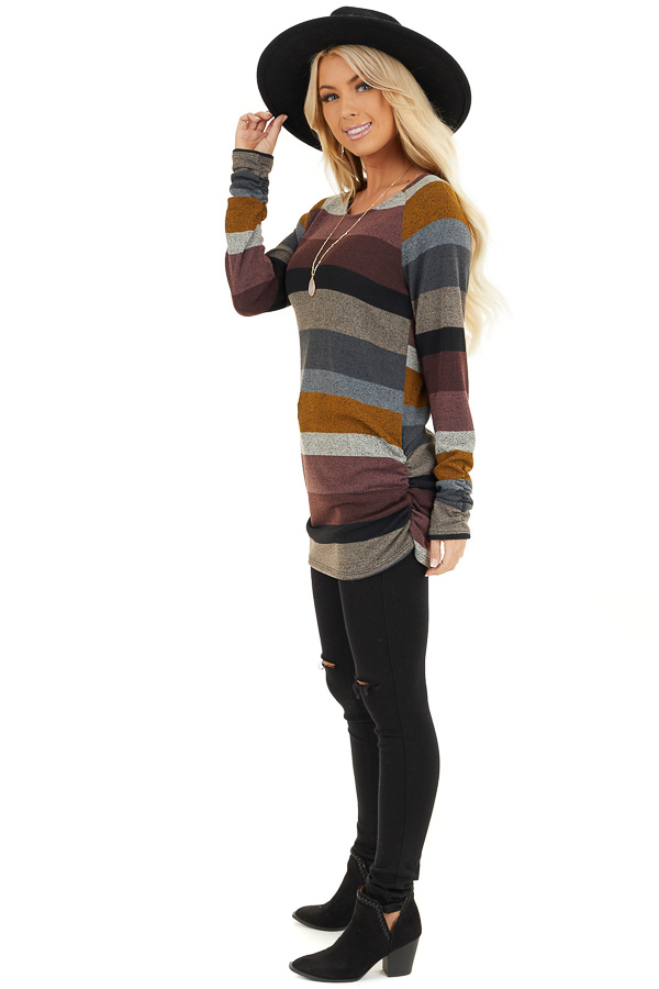 Multi Color Striped Long Sleeve Tunic Top with Side Ruching side full body