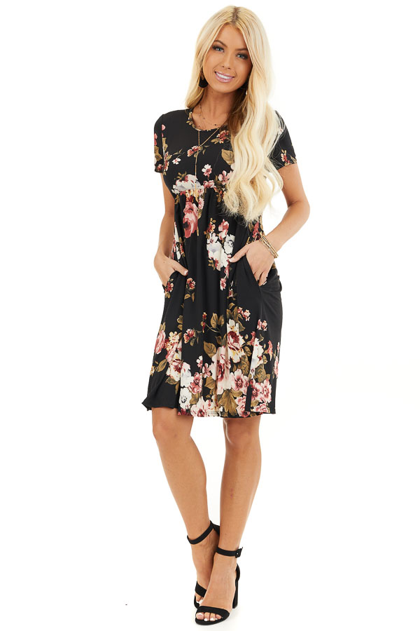 Black Floral Print Short Sleeve Mini Dress front full body