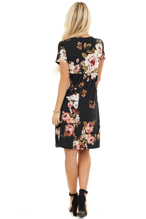 Black Floral Print Short Sleeve Mini Dress back full body