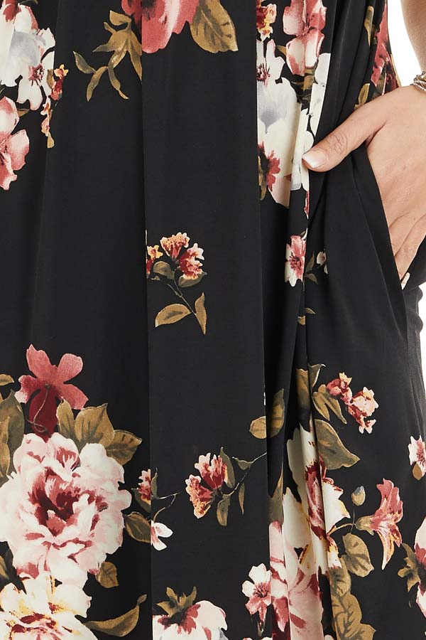 Black Floral Print Short Sleeve Mini Dress detail