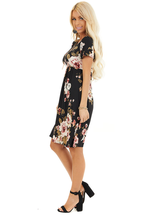 Black Floral Print Short Sleeve Mini Dress side full body