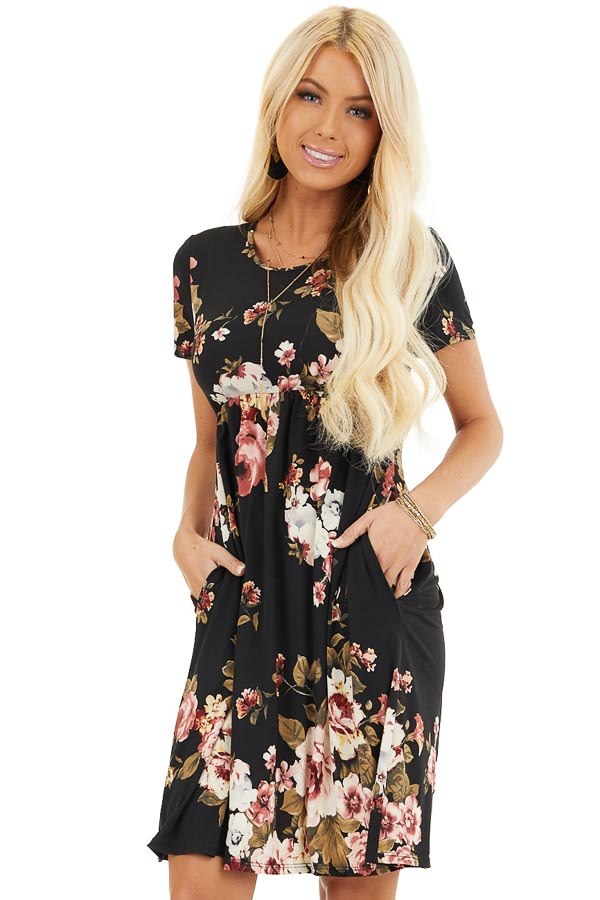 Black Floral Print Short Sleeve Mini Dress