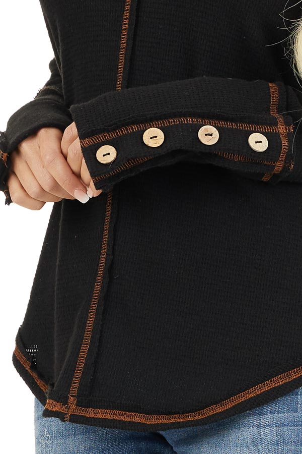 Black Waffle Knit Long Sleeve Top with Wooden Button Details detail