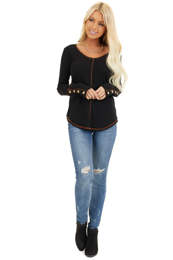 Black Waffle Knit Long Sleeve Top with Wooden Button Details front full body