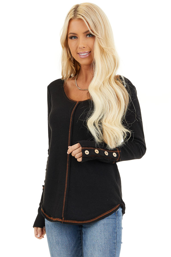 Black Waffle Knit Long Sleeve Top with Wooden Button Details front close up